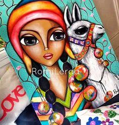 Romi Lerda Obras Illusion Kunst, Illusion Art, Kunstjournal Inspiration, Art Journal Inspiration, Indian Art Gallery, Rajasthani Art, India Art, Acrylic Painting Techniques, Doll Painting