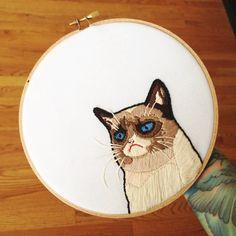 Grumpy Cat  7 embroidery by houseofmiranda on Etsy, $85.00