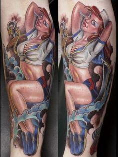 Sailor pinup tattoo by joe capobianco