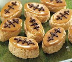 Rice crispy treats in the shape of a football, Carmel icing to look just like a football... Cute idea!!