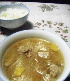 White gourd and beef balls soup