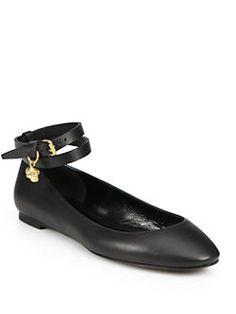 Alexander McQueen - Double-Wrap Skull Leather Ballerina Flats