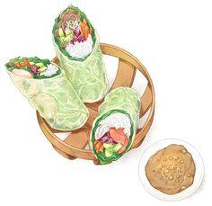 Food art by lerin_illustration Watercolor Food, Watercolor Illustration, Cute Food Art, Food Sketch, Food Cartoon, Food Painting, Food Stickers, Food Drawing, Food Humor