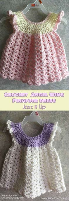 How to Crochet and Jazz Up Your Angel Wing Pinafore Baby Dress [Free Pattern and Ideas] | Your Crochet
