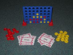 Word Work Connect 4: Each player takes a turn by picking a card to read. If they can read the card, they get to take a turn putting their red or yellow chip in the connect 4 game.  If they can't read the card, they can't play their chip in the game and it's the next persons turn. Could do vocabulary definitions for upper grades.