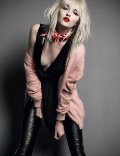Vlada Roslyakova for numéro russia #005 - St Laurent leather pants