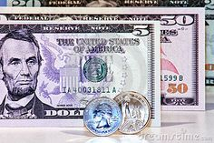 Original photo us dollar banknotes and coins