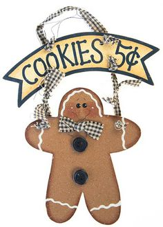 wooden gingerbread men | Painted Wood Gingerbread Man Cookies 5 cents Holiday Sign - Wall ...