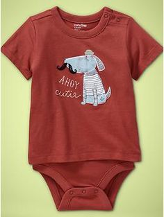 Gap.com, baby, Ahoy cutie, french sailor dog, Embroidered graphic body double onsie