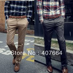 Sale spring summer autumn men's casual pants fashion slim british style straight suit  trousers pants men khaki grey black-inPants from Apparel & Accessories on Aliexpress.com