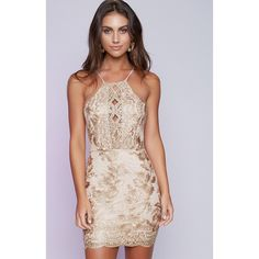Golden Embroidered Lace Halter Cross Spaghetti Strap Mini Skinny Dress