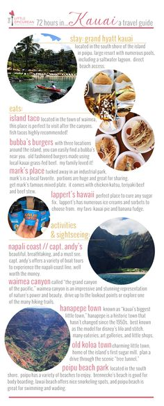 Hawaii Travel Guide focusing on the island of Kauai. What to eat, see, and do in Kauai over a quick weekend trip or 72 hours Kauai Hawaii, Maui, Hawaii 2017, Hawaii Life, Kauai Vacation, Hawaii Honeymoon, Vacation Destinations, Italy Vacation, Cheap Honeymoon