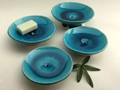 "Soap dishes - ""Lagoon"" series, 2015 (white clay, turquoise blue glaze). Ceramics by Studio Saskia Lauth / France - www.saskia-lauth.com"