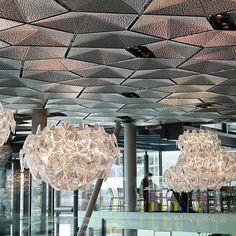 Tromso, Clarion Hotel The Edge, Entrance Foyer with Pentagonal Pyramid Shaped Ceiling Panels, Product Line EXYD-G, Photo EXYD, 2014