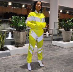 Glo up reflective detailing. Bright neon yellow model is wearing size small 120 Hot Outfits, Dance Outfits, Trendy Outfits, Summer Outfits, Fashion Outfits, Yellow Fashion, Black Women Fashion, Womens Fashion, Nyc Fashion
