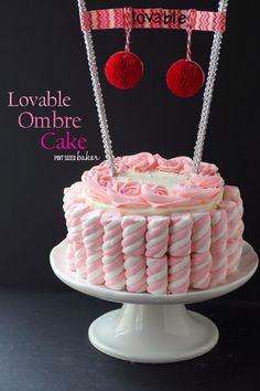 Pink Ombre Cake that is full if #loveableLuckyLeaf Strawberry pie filling. from @pintsizedbake