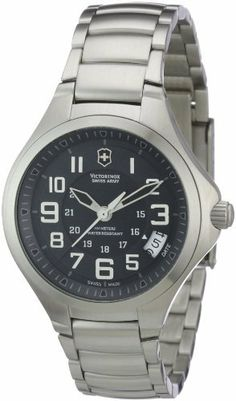 Victorinox Swiss Army Women's 241471 Base camp Black Date Dial Watch Watch Victorinox Swiss Army. $205.00. Shock-resistant hardened mineral crystal. Screw-in caseback, protected crown. Swiss analog quartz movement. 36 mm stainless steel case (316L). Water resistant to 100M (10ATM, 330 ft)