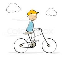 "boy on bike for ""pin-the-bird"" game"