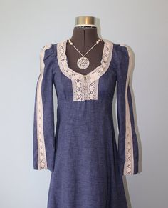 Blue Denim GUNNE SAX Dress Style // Vintage by FoxyBritVintage, $68.00