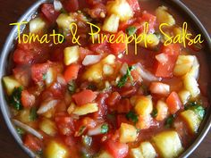 So Easy Tomato & Pineapple Salsa  Tried this last night and had to make 2 substitutions: canned pineapple instead of fresh, and instead of lime juice, I used some of the juice from the can.  Even with the changes I made, I was impressed! Nice heat (have bread or milk ready, if you're like me) as written, could be amped up with more or spicier peppers, or down with less or sweeter. We served over ham steak and put the rest in a jar for later. :) Yum!