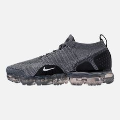 Left view of Men's Nike Air VaporMax Flyknit 2 Running Shoes in Dark Grey/White/Wolf Grey