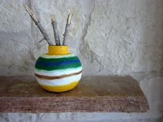 vase / Cool tones Warm tones Striped Vase / by CarriageOakCottage