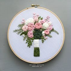 Pink Peony and Succulent Embroidered Floral Bouquet by And Other Adventures Embroidery Co Floral Embroidery Patterns, Modern Embroidery, Hand Embroidery Designs, Embroidered Flowers, Wedding Embroidery, Crewel Embroidery, Embroidery Hoop Art, Embroidery Works, Embroidery On Clothes