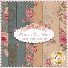 """Antique Rose 2014 8 FQ Set - Faded Forget Me Not Set by Lecien Fabrics: Antique Rose is a collection by Lecien Fabrics. 100% Cotton. This set contains 8 fat quarters, each measuring approximately 18"""" x 21"""""""