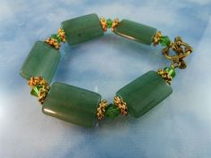 50% OFF ALL SHOP: Jade Crystal & Gold Tone Bracelet