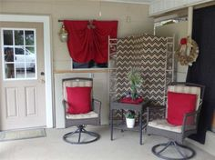 Find this home on Realtor.com...we were outta $$ when it came to patio...curtain is a tablecloth from one of those cheap round tables...pillowcases are from what was left from one of the bedrooms..the black curtains are leftovers also...the burlap cost 5.97..so I did the whole thing for under 6 bucks!