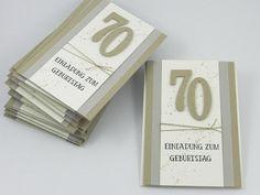 """Stempelhandwerk: Schlichte Einladungskarten zum 70.Geburtstag eines Mannes; Stempelset """"So viele Jahre"""" von Stampin Up!"""