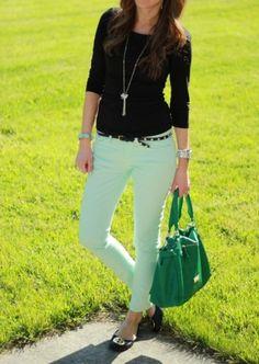 Mint green pants + black top + brown belt + black ballet flats + coloured bag