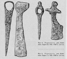 """Two axes from Popęszyce, Poland / 7th-8th century. Source: Wanda Tarnowska: """"Topory wczesnośredniowieczne z obszaru Śląska"""", Światowit 24, 1962"""