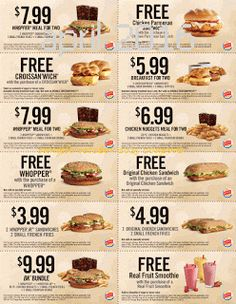 Burger King coupons & Burger King promo code inside The Coupons App. Two-for-one sandwiches, smoothies and more at Burger King May Free Food Coupons, Free Coupons Online, Cigarette Coupons Free Printable, Free Coupons By Mail, Free Printable Coupons, Free Printables, Mcdonalds Coupons, Kfc Coupons, Free Mcdonalds