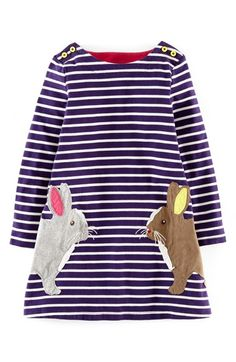 Free shipping and returns on Mini Boden 'Stripy Appliqué' Dress (Toddler Girls, Little Girls & Big Girls) at Nordstrom.com. Playful animal appliqués bedeck a snappy striped dress sewn from soft, pure cotton jersey.