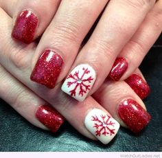 Red glitter and white Christmas nails