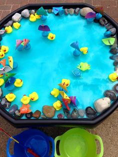 Hook a Duck, Catch a Boat.. Catching and sorting ducks and boats. We have 18 mini rubber ducks and made 18 little boats with pool noodles, craft foam and straws. Roman enjoyed catching them with his fishing net and sorting them into labeled buckets. We also added a few fish and a rod. Although he found the rod more difficult he had a lot of fun trying!
