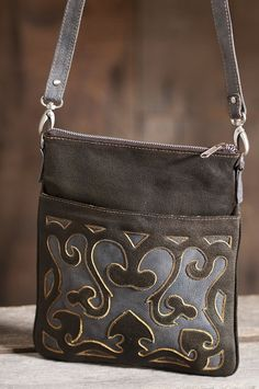 Women's Hand-Tooled Cross-Body Leather Handbag