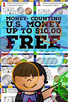 FREE- Money-Counting Coins and Bills up to U.S. $10.00 (24 Task cards)This is a colorful set of 24 task cards on countingU.S. bills and coins up $10.00.This set is a wonderful addition to your lessons!I've included a recording sheet and answer key, too! Counting Coins, Counting Money, Classroom Freebies, Special Education Classroom, Future Classroom, Hands On Activities, Math Activities, Free Math, 2nd Grade Math
