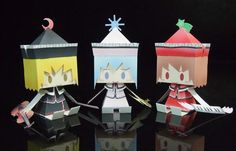 Three Sisters Paper Dolls In Cubic Style - by Pontacerone  --   Japanese designer Pontacerone shares more some beautiful and delicate paper dolls, this time three little sisters, Runasa, Merlin and Lyrica, from Prisma Illya Anime.