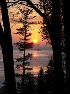 Icy February Sunset  ( Great 'inland' lake ~ Hubbard Lake )