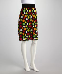 Take a look at this Black & Yellow Dot Knee-Length Skirt on zulily today!