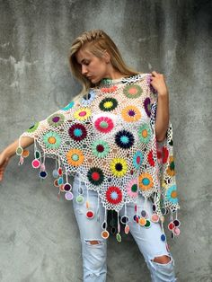 Women Accessories Colorful Crochet shawl white background multicolor flowers Women Accessories Colorful Crochet shawl white by kovale on Etsy Poncho Au Crochet, Crochet Shawls And Wraps, Crochet Scarves, Crochet Clothes, Crochet Flowers, Crochet Lace, Crochet Summer, Cotton Crochet, Crochet Accessories