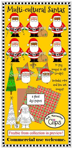 Cute Multicultural Santas - Freebie from collection in preview! $ http://www.teacherspayteachers.com/Product/Multicultural-Santas-Freebie-in-preview-950778