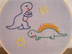 Your place to buy and sell all things handmade Baby Embroidery, Simple Embroidery, Learn Embroidery, Cross Stitch Embroidery, Embroidery Patterns, Baby Sewing Projects, Sewing Crafts, Dinosaur Fabric, Adrien Y Marinette