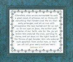 Cloud of Witnesses Hebrews Cross Stitch Design