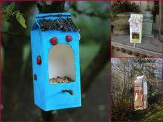 Bird houses milk cartons