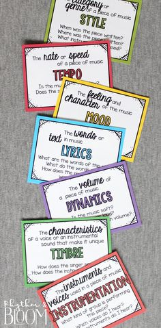 What to Listen for in Music - I love this colorful bulletin board for the music classroom.