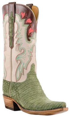 Ahhh! Perfect Valentine's Day boots.   http://austinjolene.com/collections/western-boots/products/so-lucchese-classics-l4148-womens-olive-suede-caiman-crocodile-boots