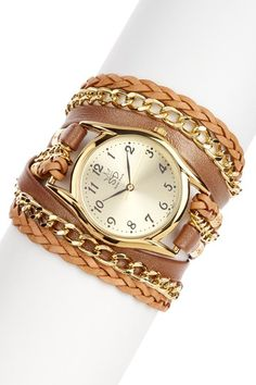 DROOL  Italian Leather & Chain Watch by Sara Designs on @HauteLook